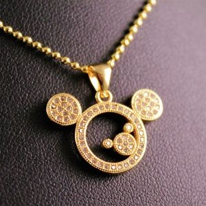 Gold Rhinestone Mickey Mouse Pendant Necklace